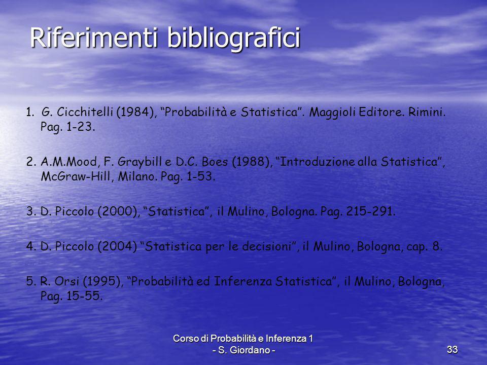 Corso di Probabilità e Inferenza 1 - S. Giordano -33 Riferimenti bibliografici 1. G. Cicchitelli (1984), Probabilità e Statistica. Maggioli Editore. R