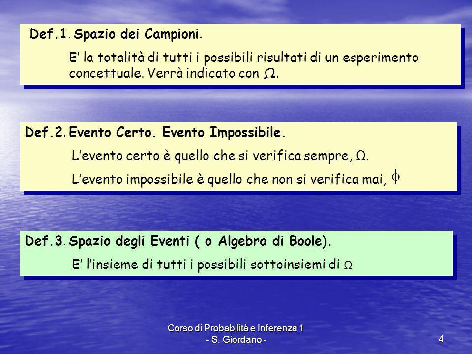 Corso di Probabilità e Inferenza 1 - S. Giordano -4 Def.1. Spazio dei Campioni. E la totalità di tutti i possibili risultati di un esperimento concett