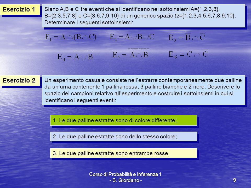 Corso di Probabilità e Inferenza 1 - S. Giordano -9 Esercizio 1 Esercizio 2 Siano A,B e C tre eventi che si identificano nei sottoinsiemi A={1,2,3,8},