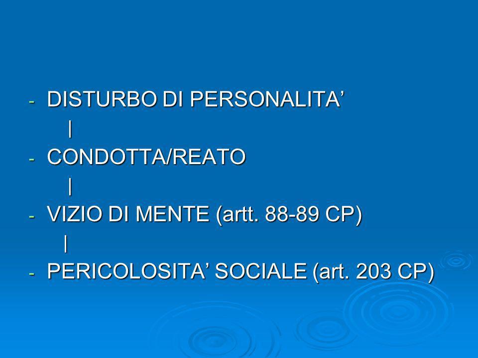 - DISTURBO DI PERSONALITA   - CONDOTTA/REATO   - VIZIO DI MENTE (artt. 88-89 CP)   - PERICOLOSITA SOCIALE (art. 203 CP)