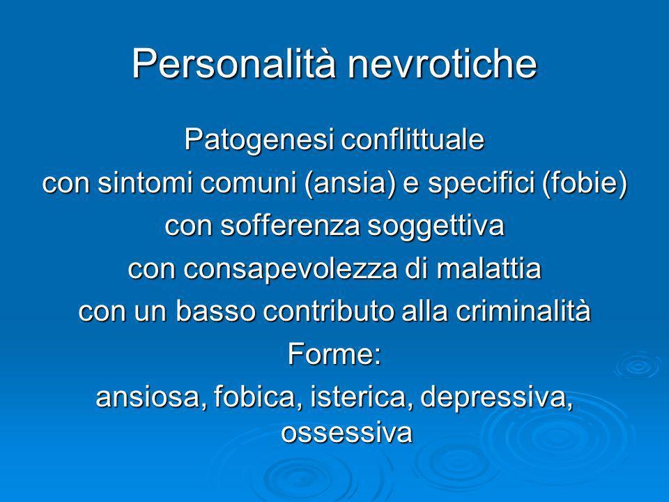 Personalità nevrotiche Patogenesi conflittuale con sintomi comuni (ansia) e specifici (fobie) con sofferenza soggettiva con consapevolezza di malattia