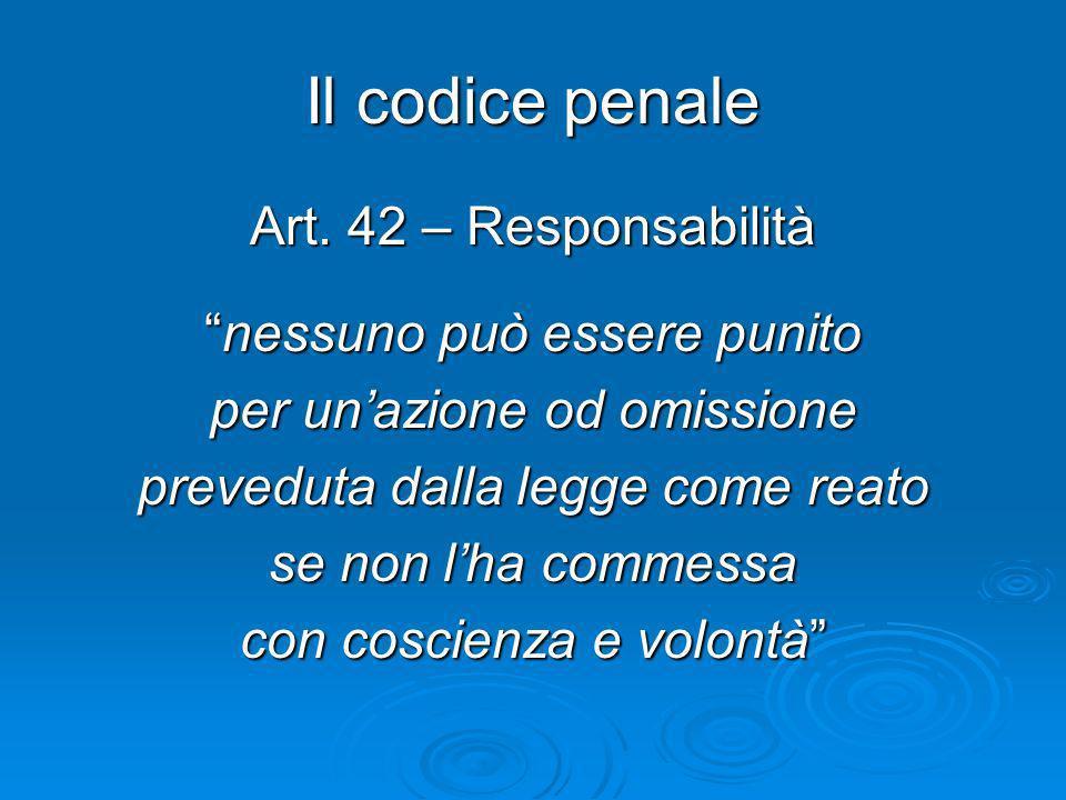 Il codice penale Art. 42 – Responsabilità nessuno può essere punitonessuno può essere punito per unazione od omissione preveduta dalla legge come reat