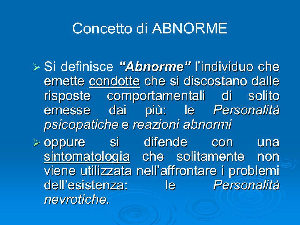 Concetto di ABNORME Abnorme lindividuo che emette condotte che si discostano dalle risposte comportamentali di solito emesse dai più: le Personalità p