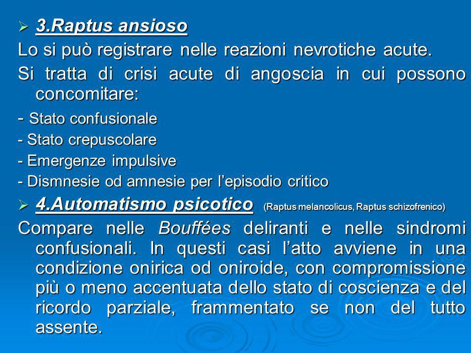 3.Raptus ansioso 3.Raptus ansioso Lo si può registrare nelle reazioni nevrotiche acute. Si tratta di crisi acute di angoscia in cui possono concomitar
