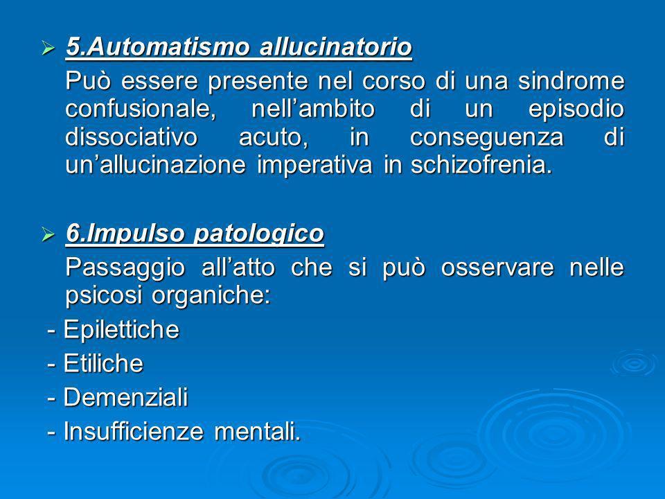 5.Automatismo allucinatorio 5.Automatismo allucinatorio Può essere presente nel corso di una sindrome confusionale, nellambito di un episodio dissocia