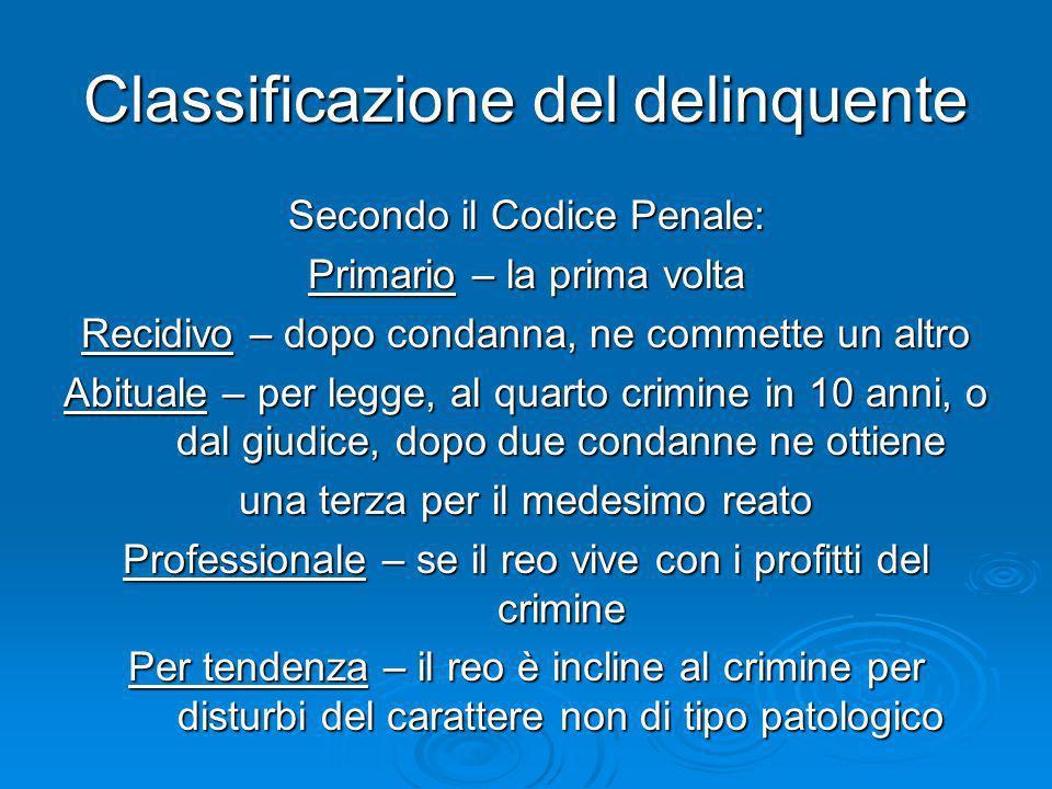 Classificazione del delinquente Secondo il Codice Penale: Primario – la prima volta Recidivo – dopo condanna, ne commette un altro Abituale – per legg