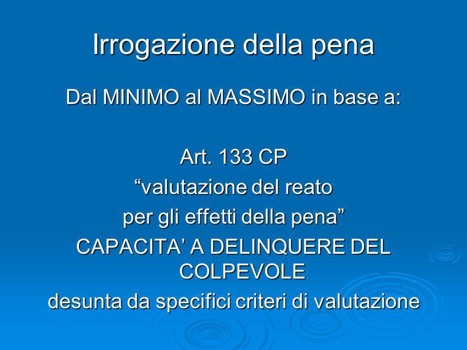 Irrogazione della pena Dal MINIMO al MASSIMO in base a: Art. 133 CP valutazione del reato per gli effetti della pena CAPACITA A DELINQUERE DEL COLPEVO