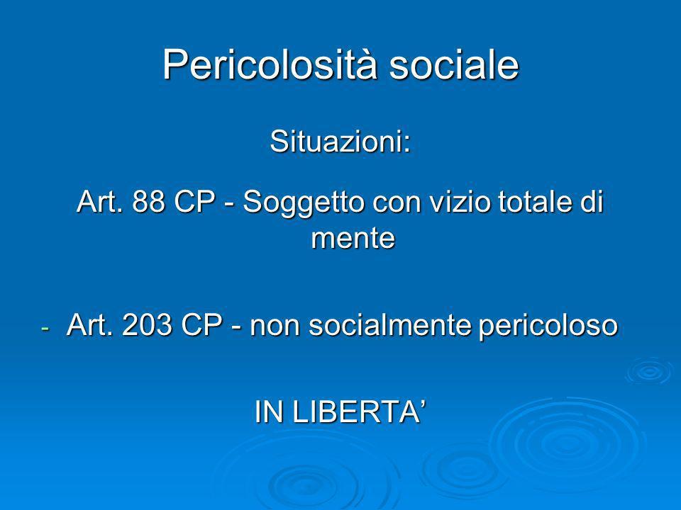 Pericolosità sociale Situazioni: Art. 88 CP - Soggetto con vizio totale di mente - Art. 203 CP - non socialmente pericoloso IN LIBERTA