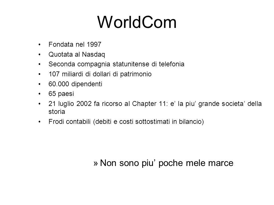 WorldCom Fondata nel 1997 Quotata al Nasdaq Seconda compagnia statunitense di telefonia 107 miliardi di dollari di patrimonio 60.000 dipendenti 65 pae