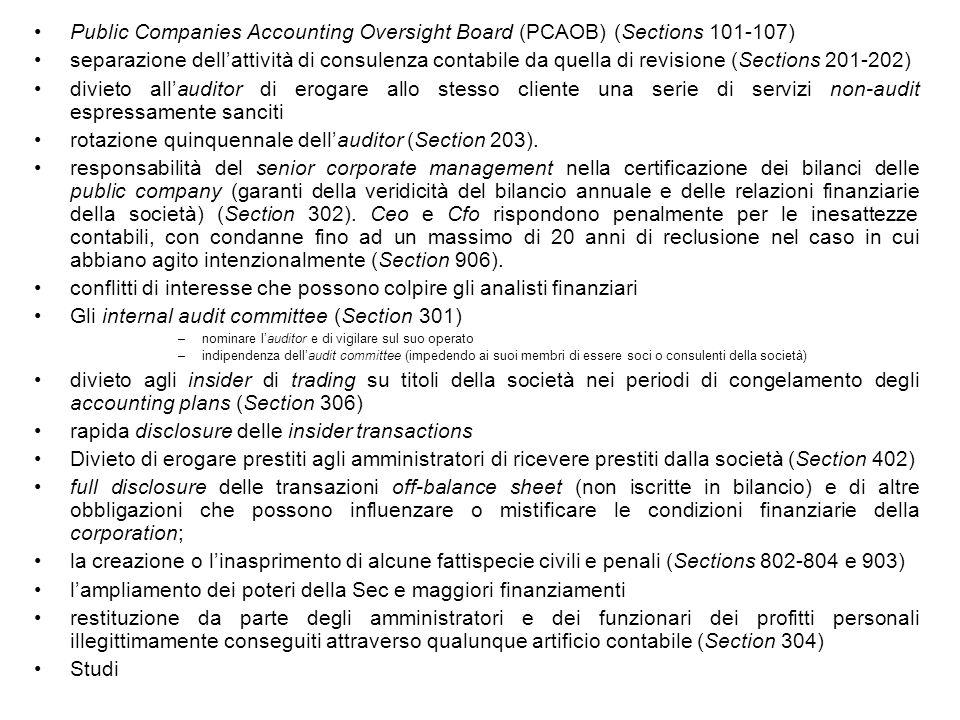 Public Companies Accounting Oversight Board (PCAOB) (Sections 101-107) separazione dellattività di consulenza contabile da quella di revisione (Sectio