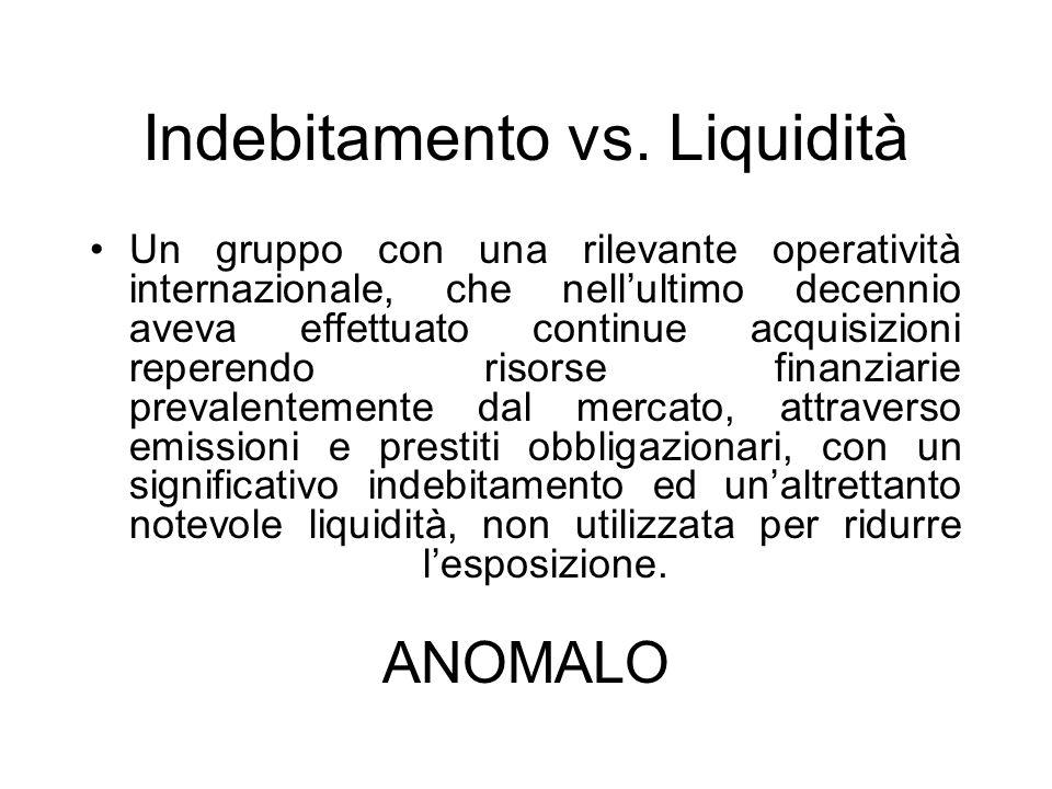 Indebitamento vs. Liquidità Un gruppo con una rilevante operatività internazionale, che nellultimo decennio aveva effettuato continue acquisizioni rep