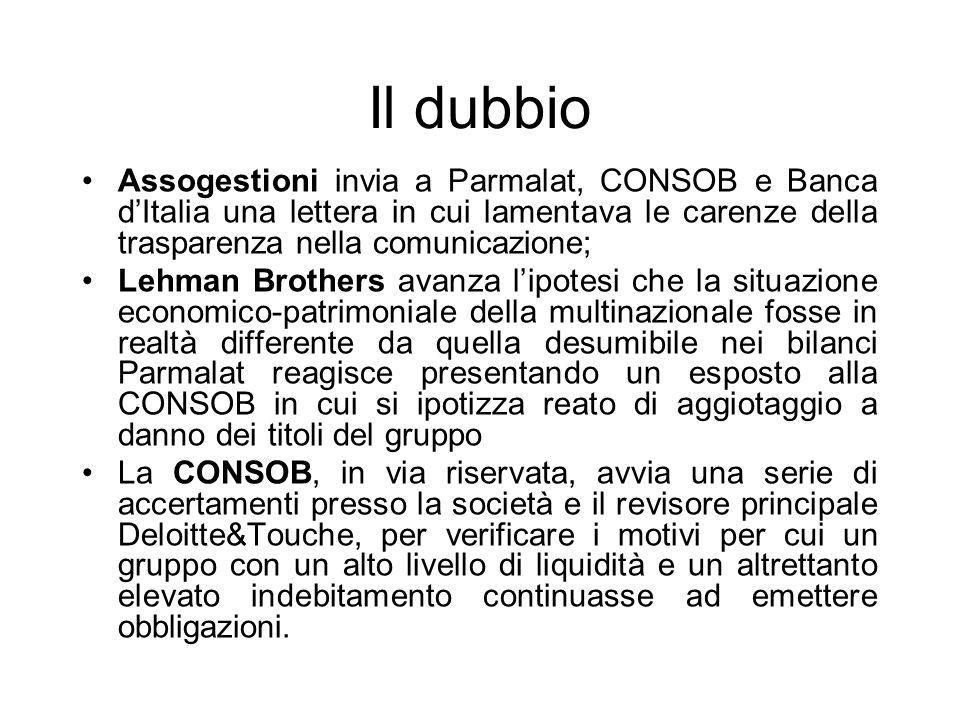 Il dubbio Assogestioni invia a Parmalat, CONSOB e Banca dItalia una lettera in cui lamentava le carenze della trasparenza nella comunicazione; Lehman