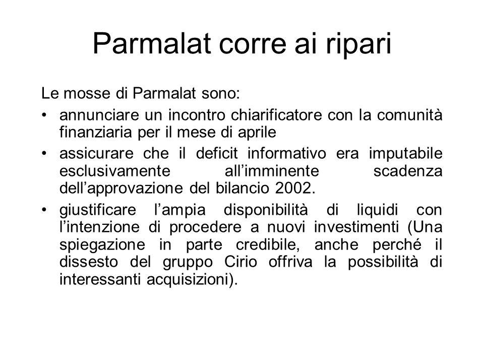 Parmalat corre ai ripari Le mosse di Parmalat sono: annunciare un incontro chiarificatore con la comunità finanziaria per il mese di aprile assicurare