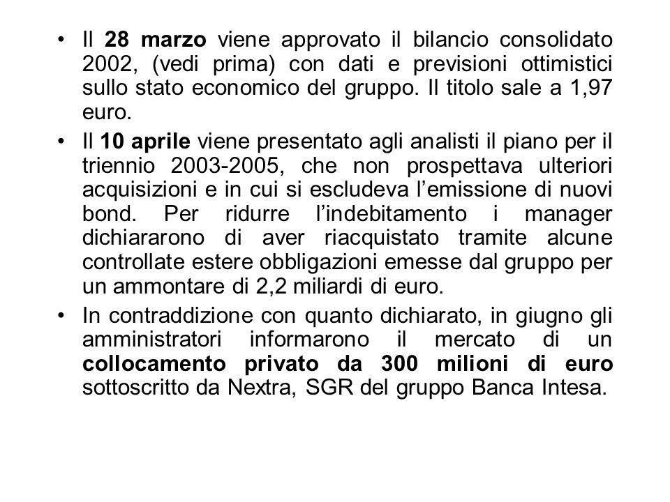 Il 28 marzo viene approvato il bilancio consolidato 2002, (vedi prima) con dati e previsioni ottimistici sullo stato economico del gruppo. Il titolo s
