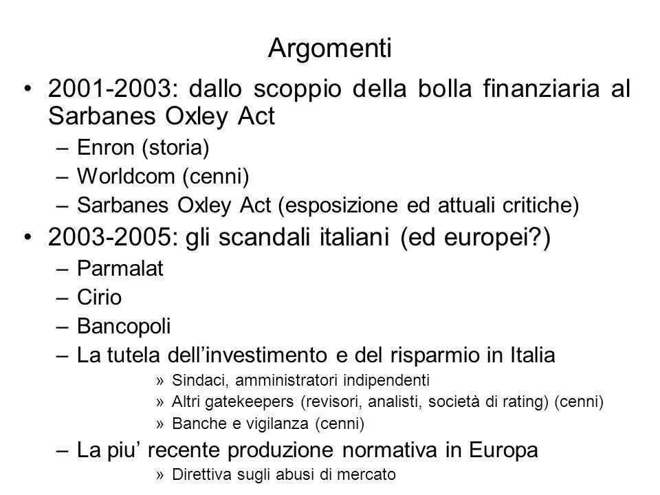 Argomenti 2001-2003: dallo scoppio della bolla finanziaria al Sarbanes Oxley Act –Enron (storia) –Worldcom (cenni) –Sarbanes Oxley Act (esposizione ed