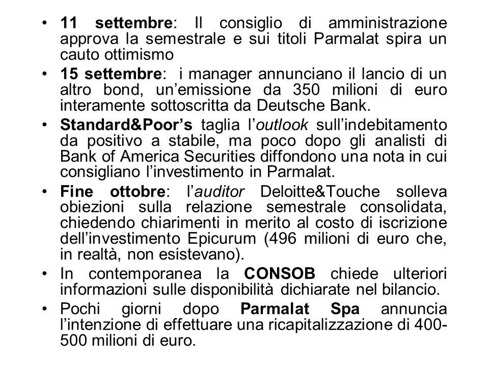 11 settembre: Il consiglio di amministrazione approva la semestrale e sui titoli Parmalat spira un cauto ottimismo 15 settembre: i manager annunciano