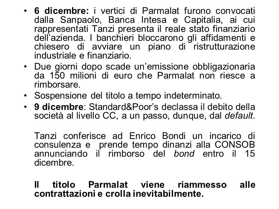 6 dicembre: i vertici di Parmalat furono convocati dalla Sanpaolo, Banca Intesa e Capitalia, ai cui rappresentati Tanzi presenta il reale stato finanz