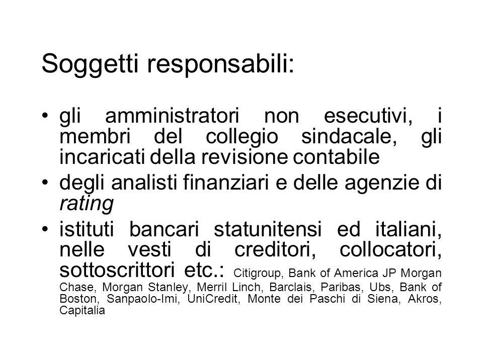 Soggetti responsabili: gli amministratori non esecutivi, i membri del collegio sindacale, gli incaricati della revisione contabile degli analisti fina
