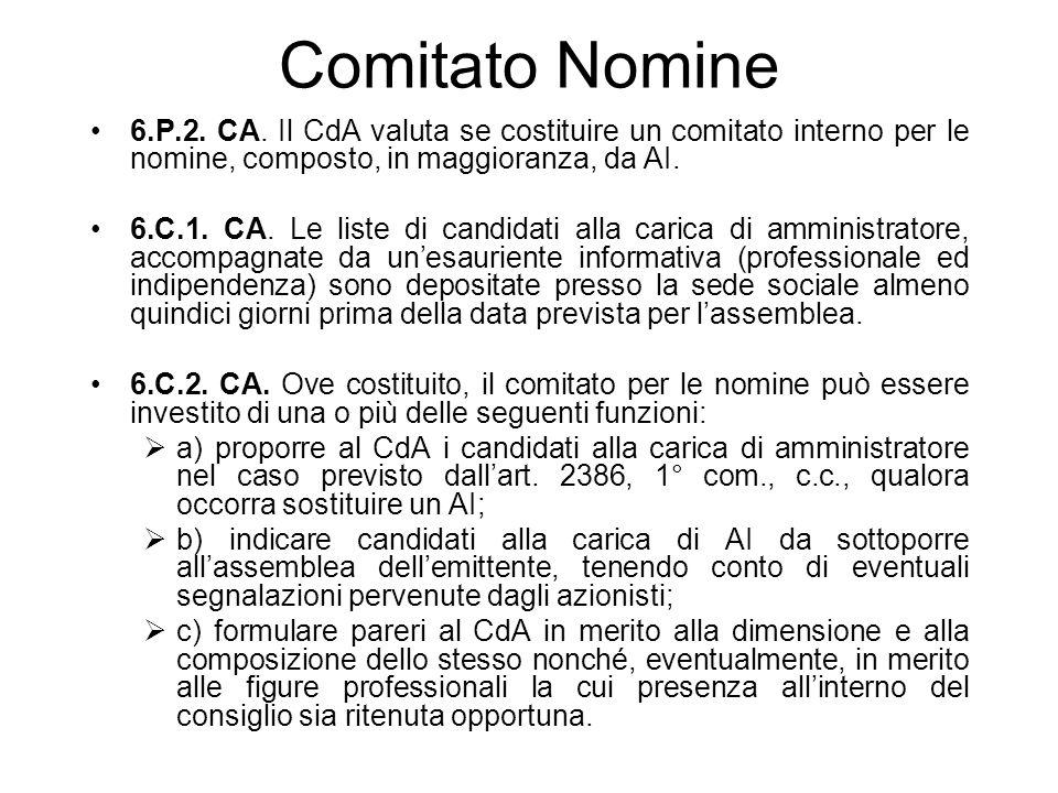 Comitato Nomine 6.P.2. CA. Il CdA valuta se costituire un comitato interno per le nomine, composto, in maggioranza, da AI. 6.C.1. CA. Le liste di cand