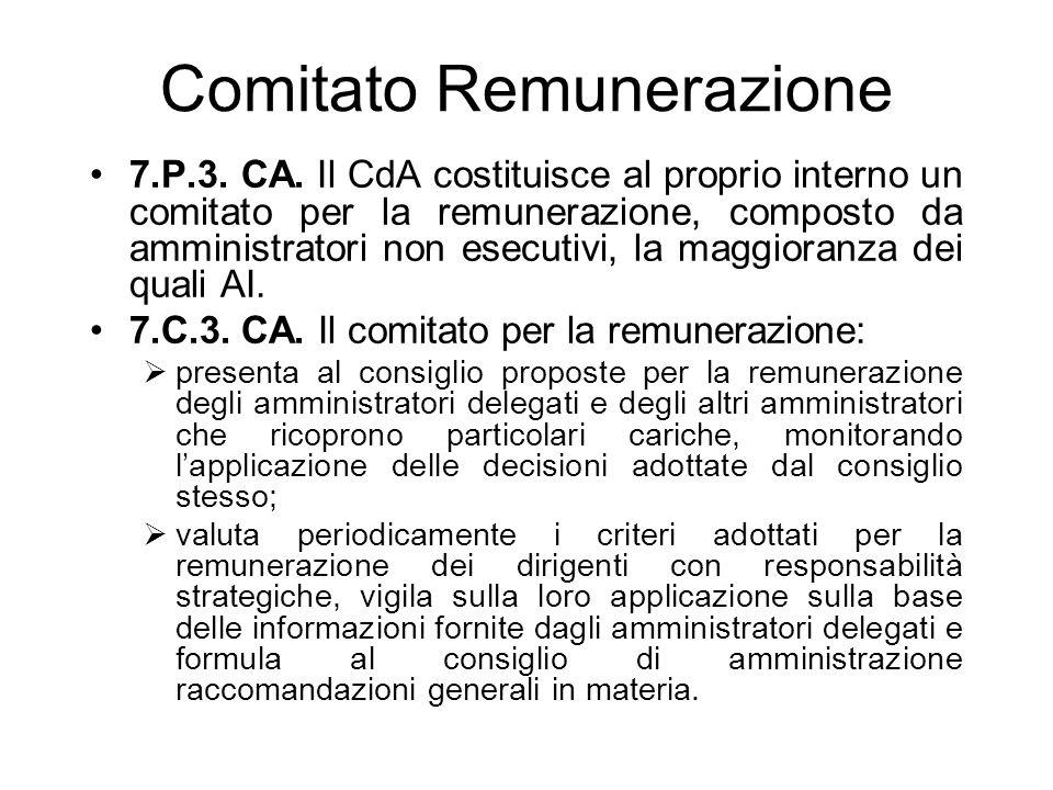 Comitato Remunerazione 7.P.3. CA. Il CdA costituisce al proprio interno un comitato per la remunerazione, composto da amministratori non esecutivi, la