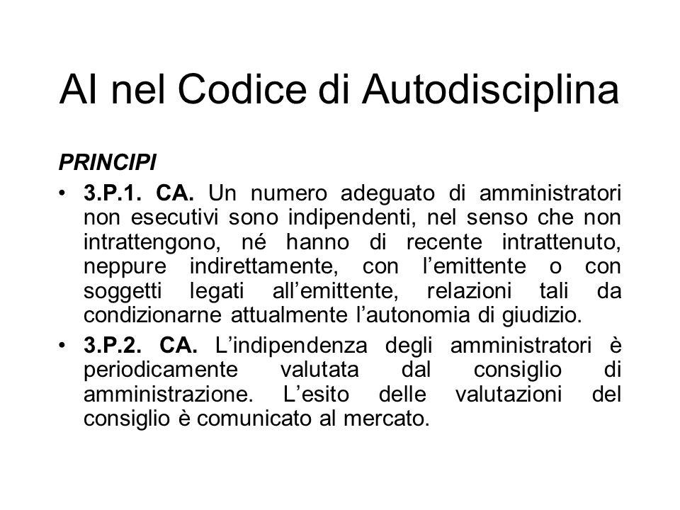 AI nel Codice di Autodisciplina PRINCIPI 3.P.1. CA. Un numero adeguato di amministratori non esecutivi sono indipendenti, nel senso che non intratteng
