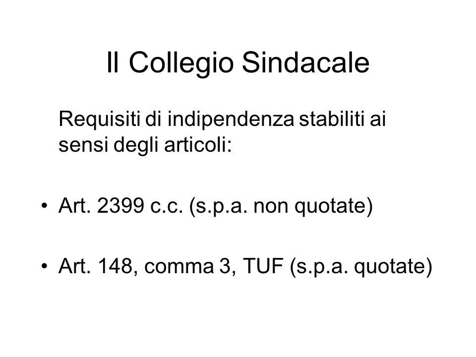 Il Collegio Sindacale Requisiti di indipendenza stabiliti ai sensi degli articoli: Art. 2399 c.c. (s.p.a. non quotate) Art. 148, comma 3, TUF (s.p.a.