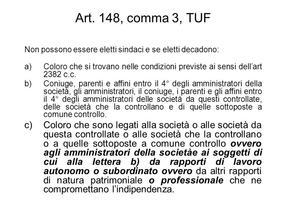 Art. 148, comma 3, TUF Non possono essere eletti sindaci e se eletti decadono: a)Coloro che si trovano nelle condizioni previste ai sensi dellart 2382