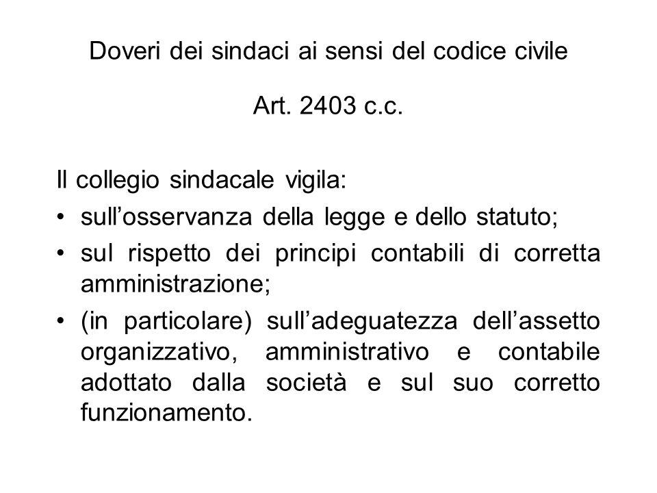 Doveri dei sindaci ai sensi del codice civile Art. 2403 c.c. Il collegio sindacale vigila: sullosservanza della legge e dello statuto; sul rispetto de