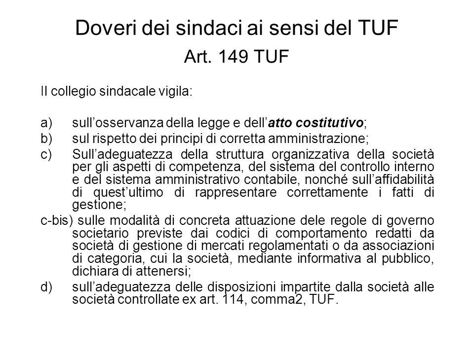 Doveri dei sindaci ai sensi del TUF Art. 149 TUF Il collegio sindacale vigila: a)sullosservanza della legge e dellatto costitutivo; b)sul rispetto dei