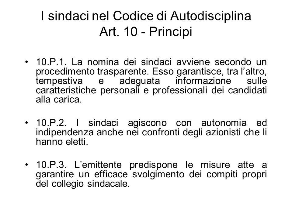 I sindaci nel Codice di Autodisciplina Art. 10 - Principi 10.P.1. La nomina dei sindaci avviene secondo un procedimento trasparente. Esso garantisce,