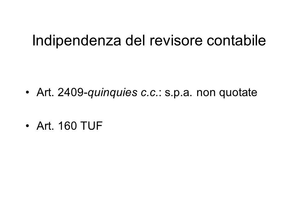 Indipendenza del revisore contabile Art. 2409-quinquies c.c.: s.p.a. non quotate Art. 160 TUF