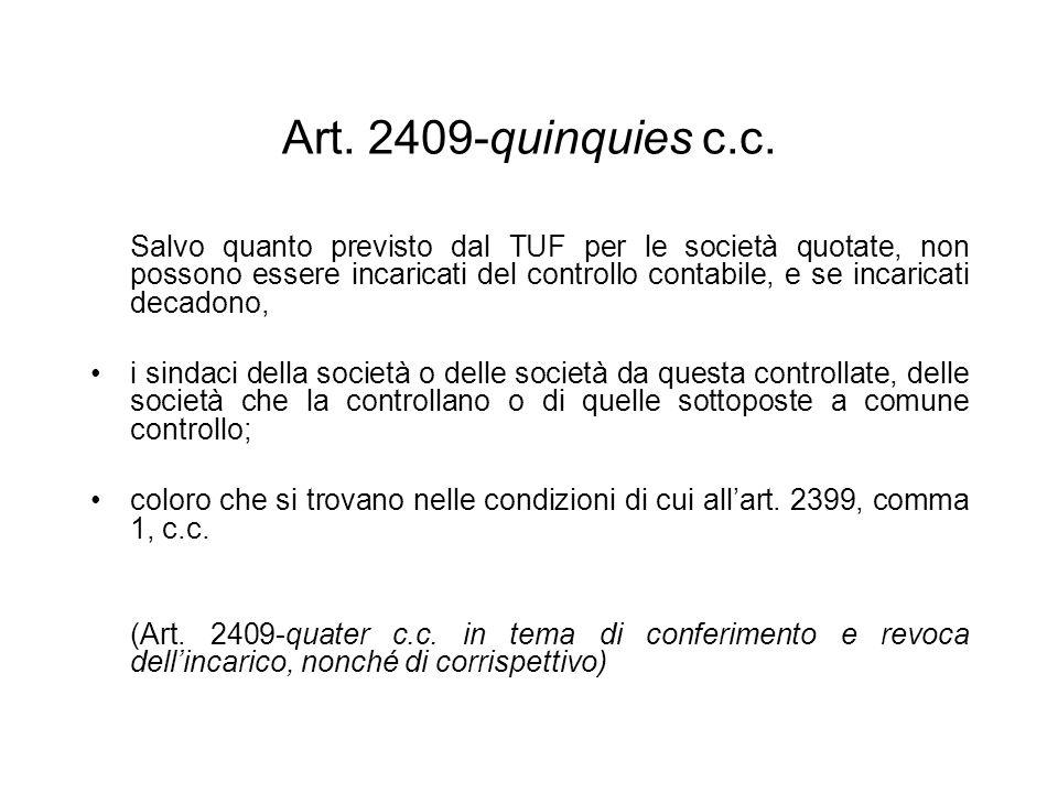 Art. 2409-quinquies c.c. Salvo quanto previsto dal TUF per le società quotate, non possono essere incaricati del controllo contabile, e se incaricati