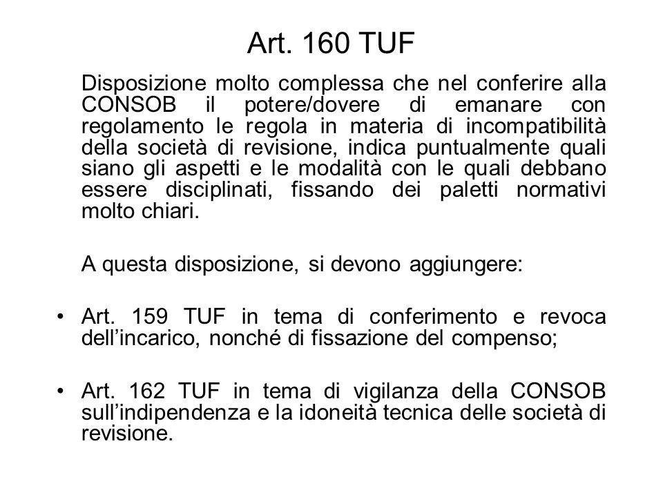 Art. 160 TUF Disposizione molto complessa che nel conferire alla CONSOB il potere/dovere di emanare con regolamento le regola in materia di incompatib