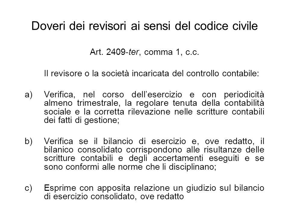 Doveri dei revisori ai sensi del codice civile Art. 2409-ter, comma 1, c.c. Il revisore o la società incaricata del controllo contabile: a)Verifica, n
