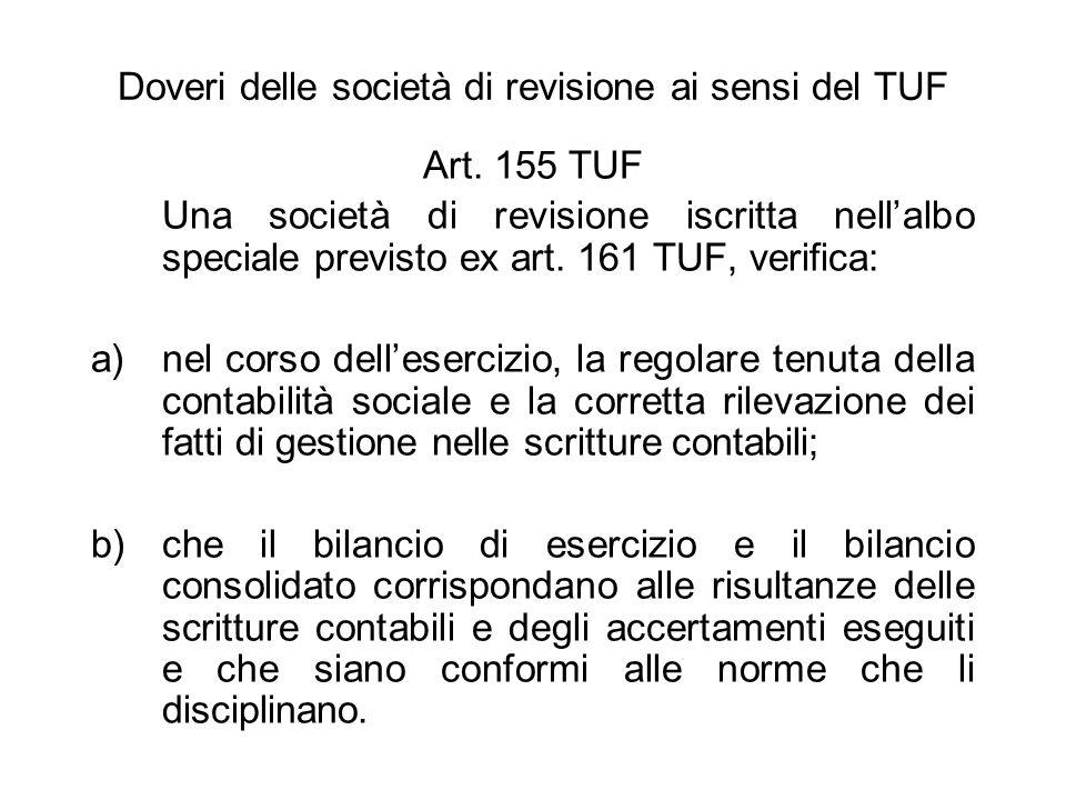 Doveri delle società di revisione ai sensi del TUF Art. 155 TUF Una società di revisione iscritta nellalbo speciale previsto ex art. 161 TUF, verifica
