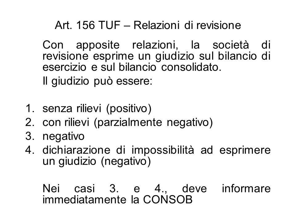 Art. 156 TUF – Relazioni di revisione Con apposite relazioni, la società di revisione esprime un giudizio sul bilancio di esercizio e sul bilancio con