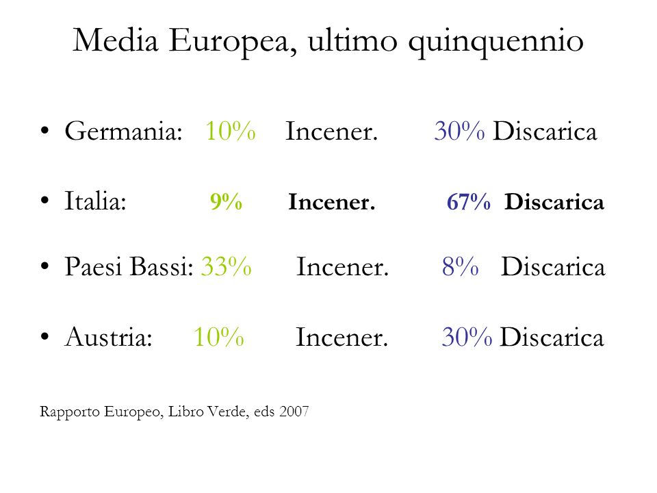 Media Europea, ultimo quinquennio Germania: 10% Incener.