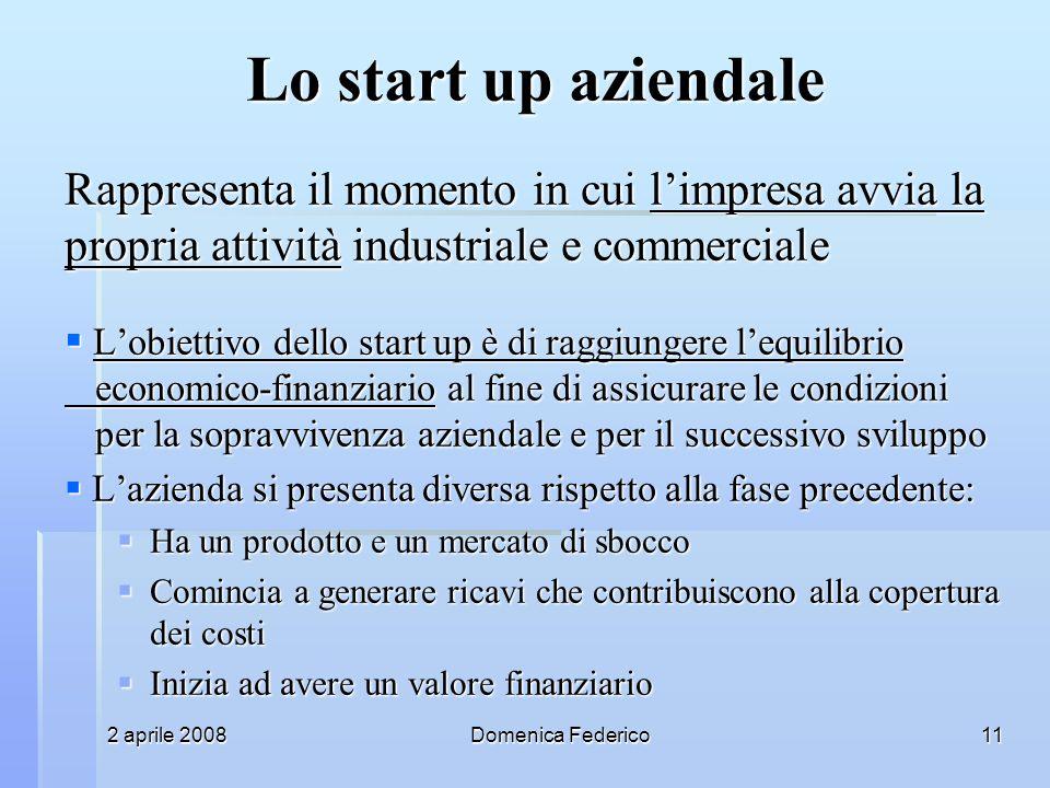 2 aprile 2008Domenica Federico11 Lo start up aziendale Rappresenta il momento in cui limpresa avvia la propria attività industriale e commerciale Lobi
