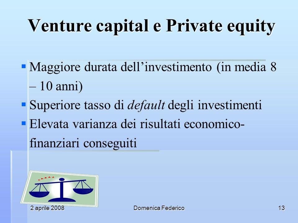 2 aprile 2008Domenica Federico13 Maggiore durata dellinvestimento (in media 8 – 10 anni) Superiore tasso di default degli investimenti Elevata varianza dei risultati economico- finanziari conseguiti Venture capital e Private equity