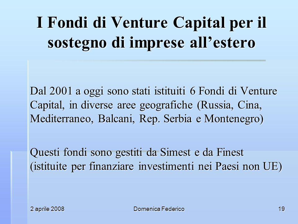 2 aprile 2008Domenica Federico19 I Fondi di Venture Capital per il sostegno di imprese allestero Dal 2001 a oggi sono stati istituiti 6 Fondi di Venture Capital, in diverse aree geografiche (Russia, Cina, Mediterraneo, Balcani, Rep.