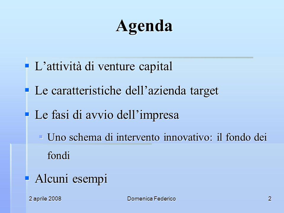 2 aprile 2008Domenica Federico2 Agenda Lattività di venture capital Lattività di venture capital Le caratteristiche dellazienda target Le caratteristi