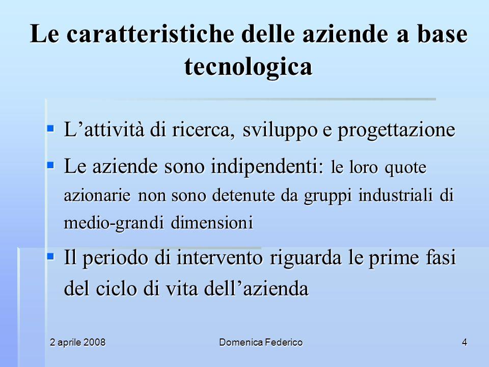 2 aprile 2008Domenica Federico4 Le caratteristiche delle aziende a base tecnologica Lattività di ricerca, sviluppo e progettazione Lattività di ricerc