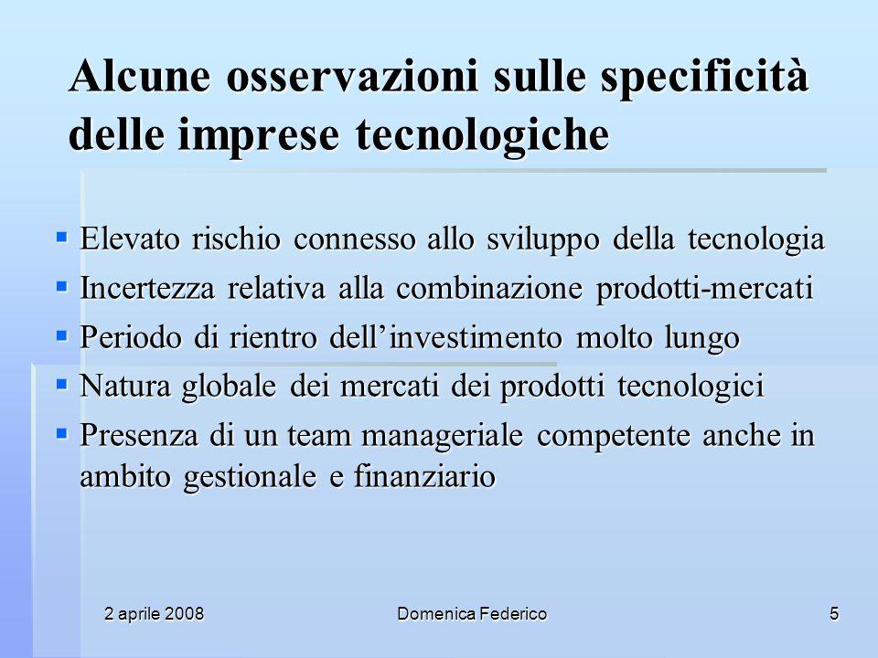 2 aprile 2008 Domenica Federico 5 Alcune osservazioni sulle specificità delle imprese tecnologiche Elevato rischio connesso allo sviluppo della tecnol