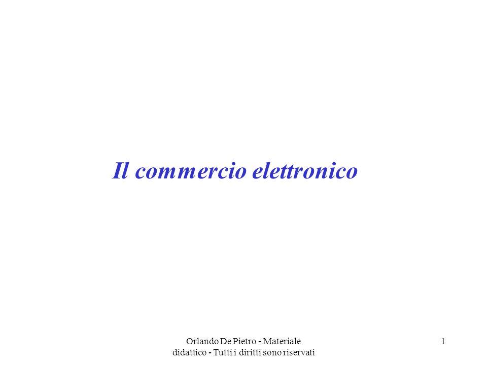 Orlando De Pietro - Materiale didattico - Tutti i diritti sono riservati 12 Struttura tecnologica del sito e-commerce Server Sistemi operativi di rete Software orientato al web Database relazionali Sicurezza nobody: Il server può essere integrato nellorganizzazione dellazienda produttrice o fornitrice di prodotti e servizi oppure mutuato da latri produttori attraverso collegamenti ipertestuali Il sistema operativo di rete può essere di diverso tipo, ad esempio i pacchetti Microsoft richiedono luso di Windows NT, IBM e Lotus hanno scelto la neutralità.