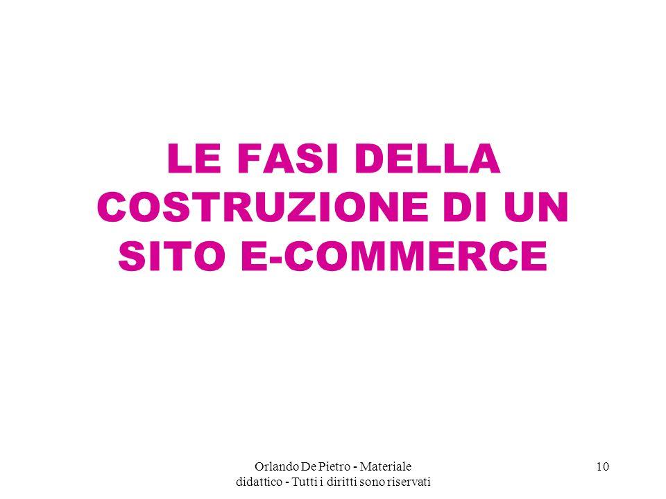 Orlando De Pietro - Materiale didattico - Tutti i diritti sono riservati 10 LE FASI DELLA COSTRUZIONE DI UN SITO E-COMMERCE