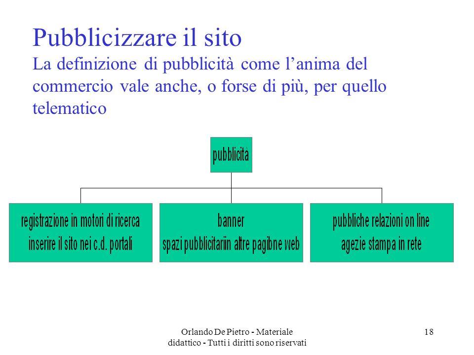 Orlando De Pietro - Materiale didattico - Tutti i diritti sono riservati 18 Pubblicizzare il sito La definizione di pubblicità come lanima del commerc