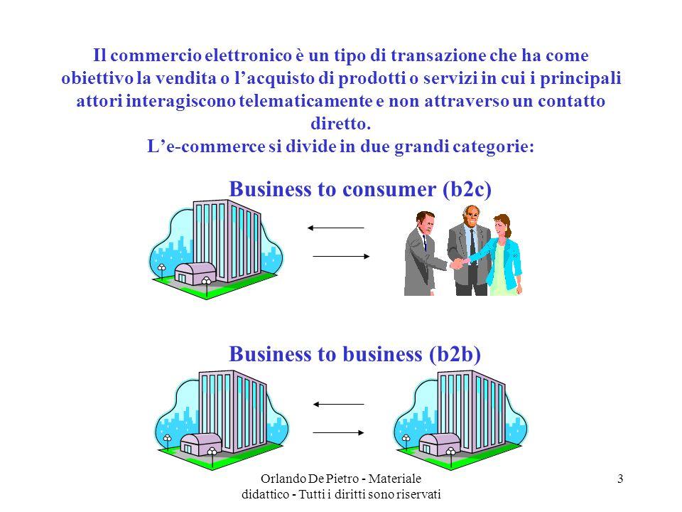 Orlando De Pietro - Materiale didattico - Tutti i diritti sono riservati 3 Il commercio elettronico è un tipo di transazione che ha come obiettivo la