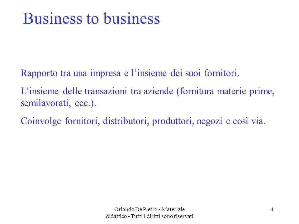 Orlando De Pietro - Materiale didattico - Tutti i diritti sono riservati 4 Business to business Rapporto tra una impresa e linsieme dei suoi fornitori.
