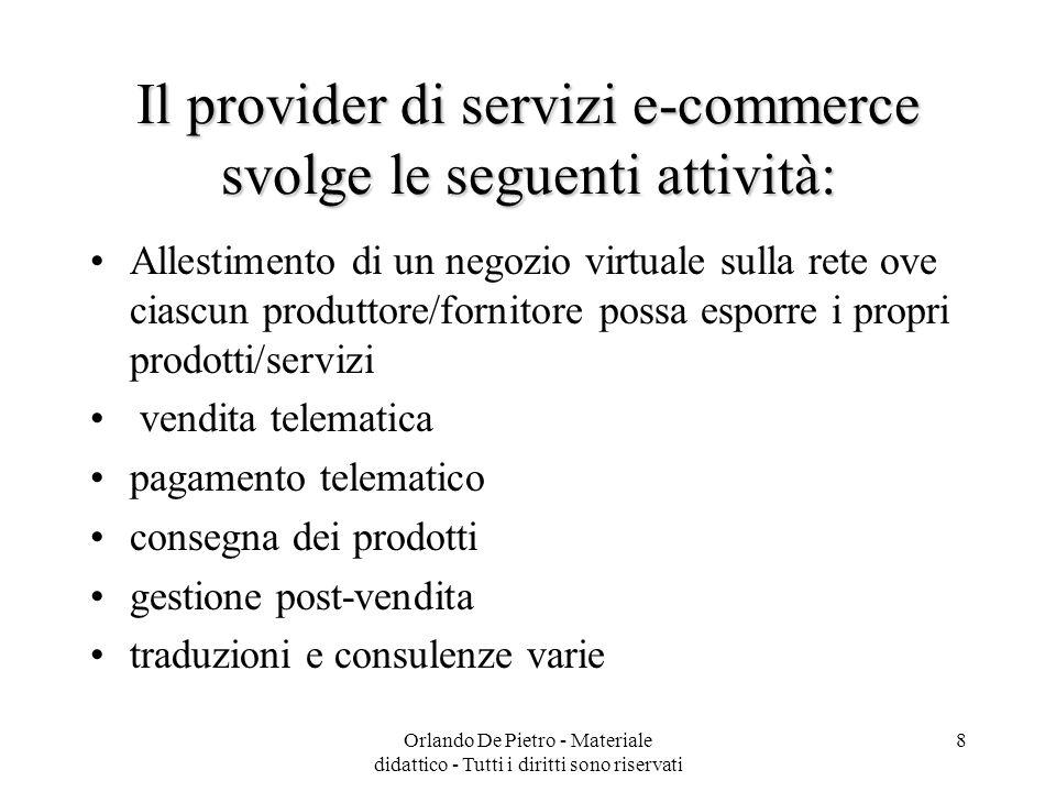 Orlando De Pietro - Materiale didattico - Tutti i diritti sono riservati 8 Il provider di servizi e-commerce svolge le seguenti attività: Allestimento
