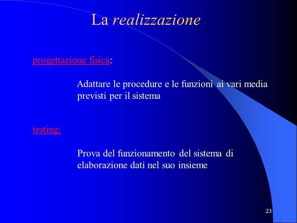 22 La progettazione logico-funzionale studio di fattibilità : studio di fattibilità 1 accertare la realizzabilità teorica 2 analizzare la convenienza